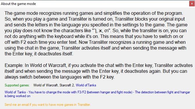 Transliter - Gamemode window